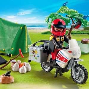 Playmobil-summer-fun-motard-et-tente-de-camping-demo-jouets